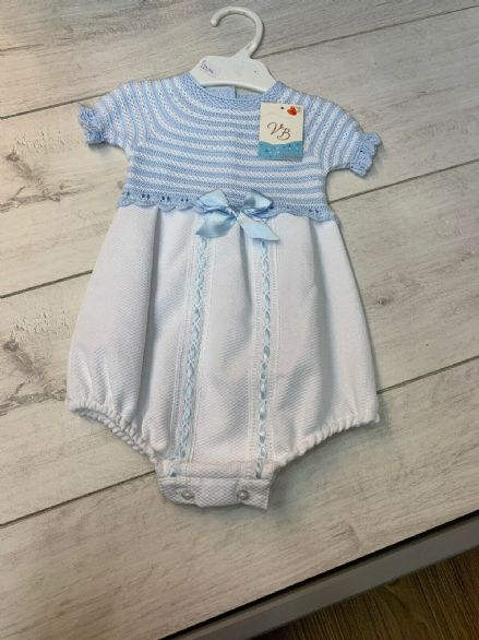 Blue & White Circular Knit Romper with Woven Body